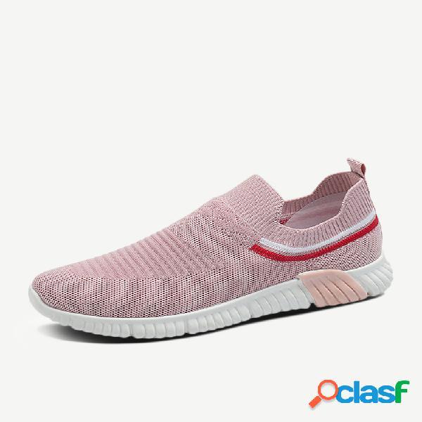 Al aire libre zapatos deportivos casuales ligeros perezosos sin cordones tejidos de malla