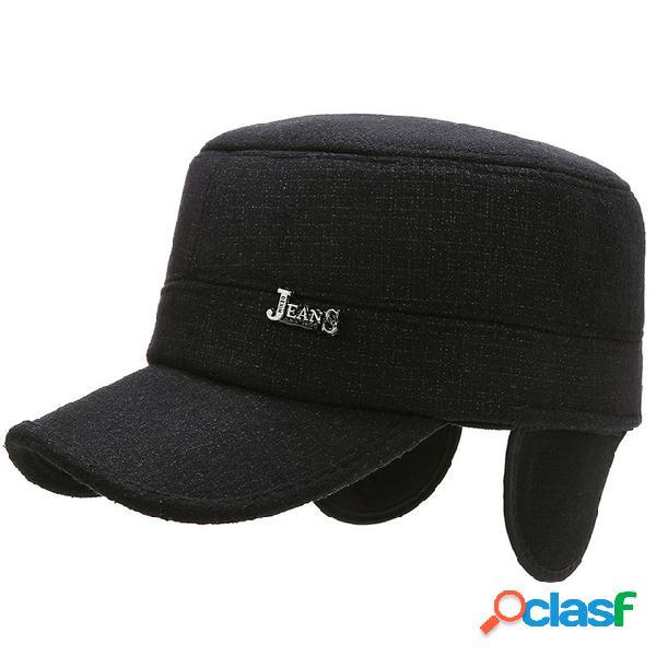 Gorras deportivas y de ocio al aire libre para hombre cien gorras llenas de estrellas gorras planas orejeras de mediana edad gorra gruesa y cálida