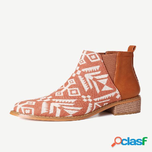 Bloque de empalme de tela de impresión casual chelsea botas para mujer