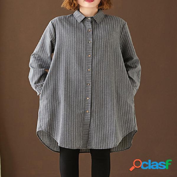 Solapa estampada a rayas de manga larga larga camisa para mujer