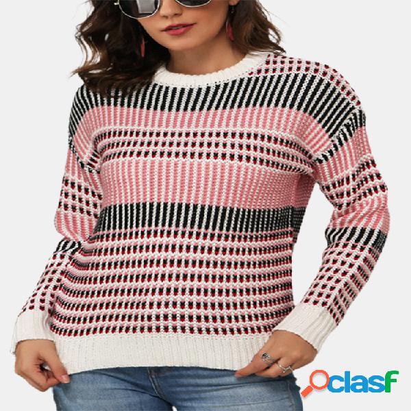 Suéter de punto suelto con cuello redondo y manga larga con estampado de rayas