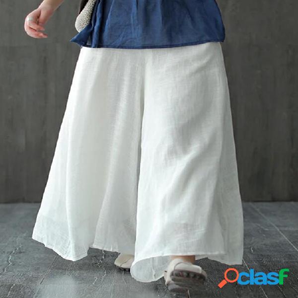 Bolsillos de color liso casual cintura elástica suelta pantalones