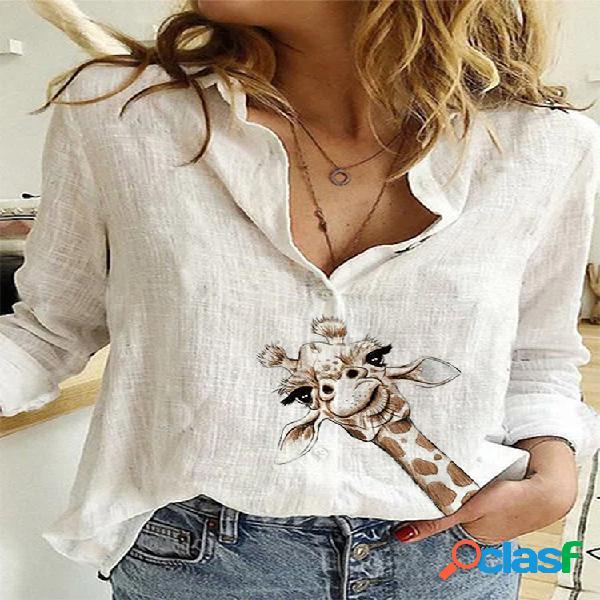 Solapa estampada de manga larga camisa para mujer