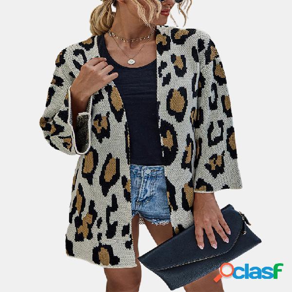Cárdigan casual de manga larga con estampado de leopardo para mujer