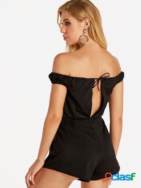 Traje atractivo negro del hombro con la cintura del lazo