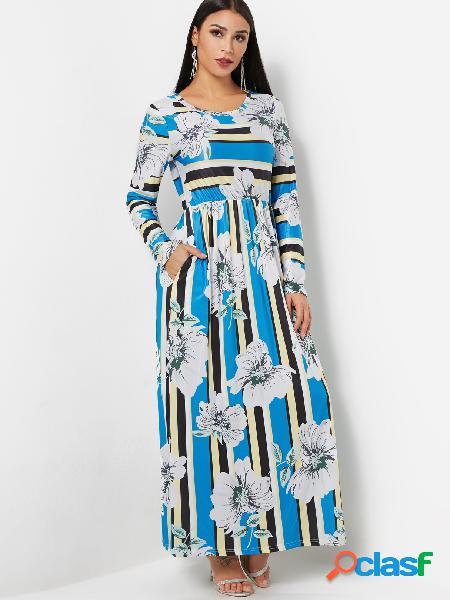 Cuello redondo vestido largo de fiesta de manga larga con estampado floral al azar en azul