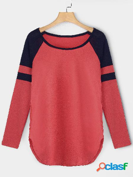 Red plain round neck long sleeves curve dobladillo t-shirt