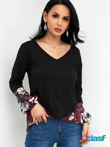 Bloque de color con estampado floral con cuello en v manga larga camisetas