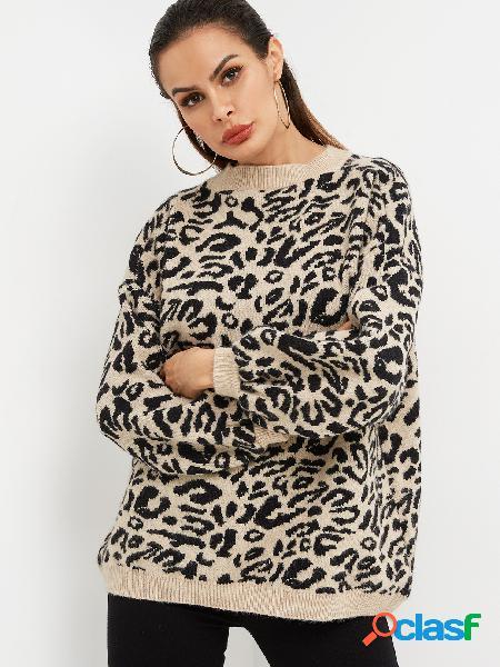 Leopardo cuello redondo manga larga suéter casual