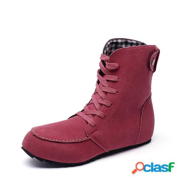 Botas cortas escarchas de diseño con cordones ocasionales rojas