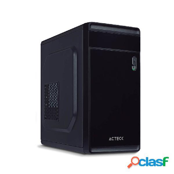 Gabinete acteck delta, micro tower, micro atx/mini-itx, usb 3.2, incluye fuente de 500w, negro