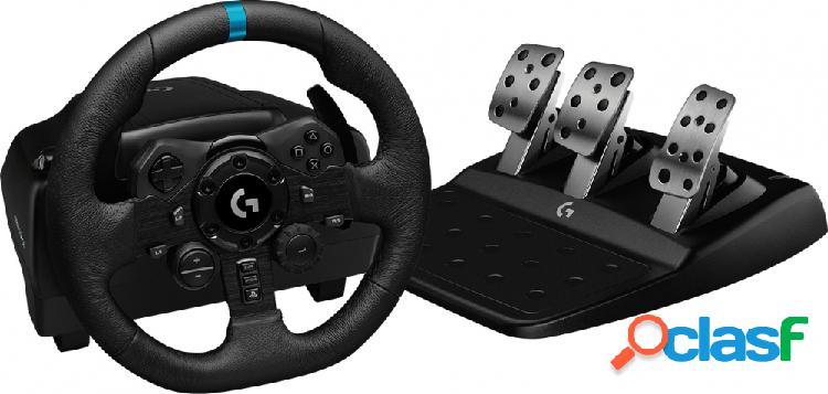 Logitech volante + pedales g923, alámbrico, usb, negro, para pc/playstation 4