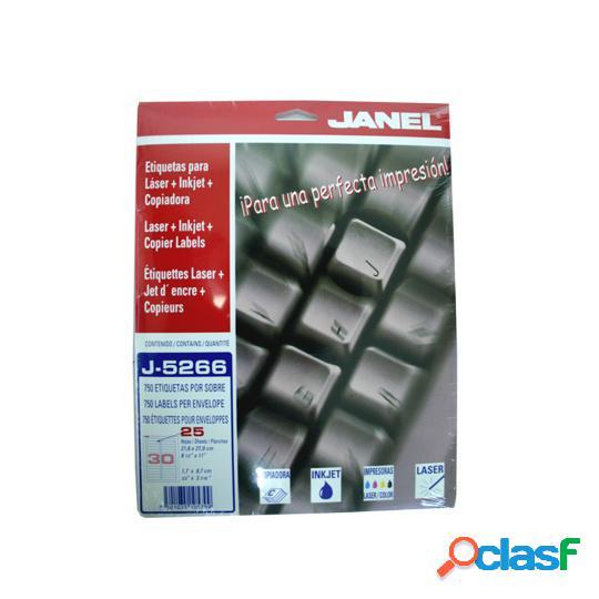 Janel etiqueta blanca de 17x87mm, paquete de 750 etiquetas