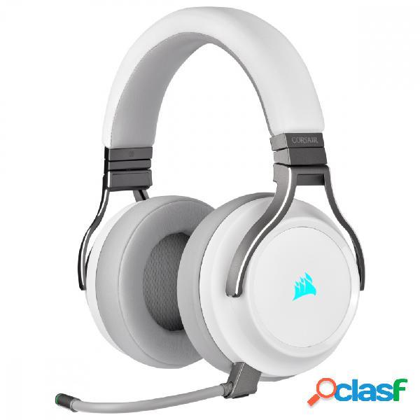 Corsair audífonos gamer virtuoso rgb wireless 7.1, inalámbrico, usb + 3.5mm, blanco