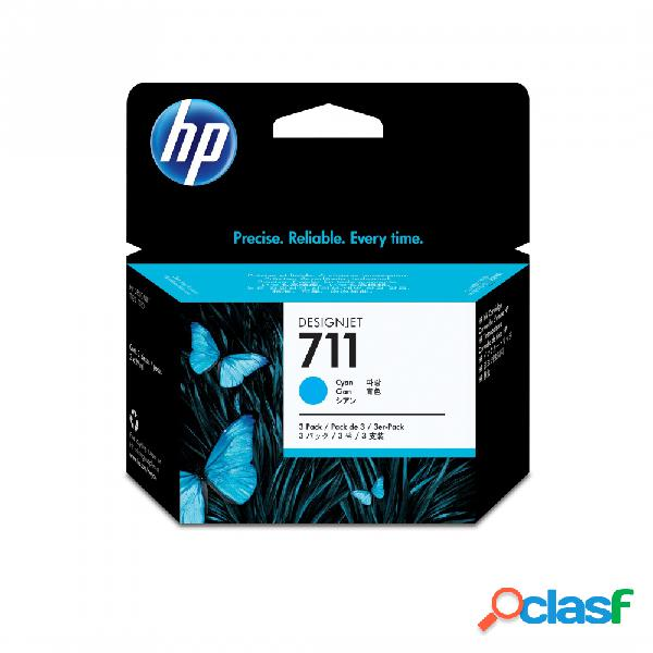 Cartucho hp 711 paquete triple cyan 29ml - ¡compra y recibe el 5% del valor del producto en saldo de regalo para tu siguiente pedido!