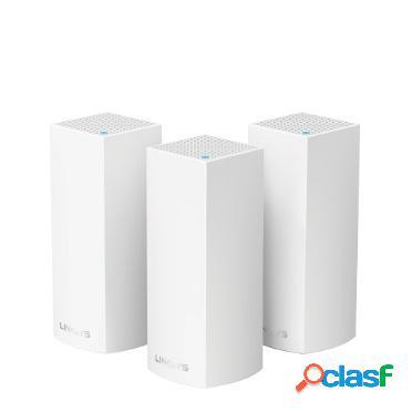 Router linksys con sistema de red wi-fi en malla tri-banda velop ac6600, 867 mbit/s, 2.4/5ghz, 2x rj-45 - kit de 3 piezas