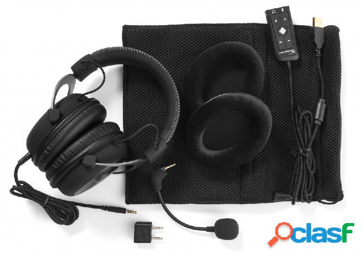 Hyperx audífonos gamer cloud ii gun metal surround 7.1, alámbrico, 1 metro + 2 metros de extensión, 3.5mm, negro