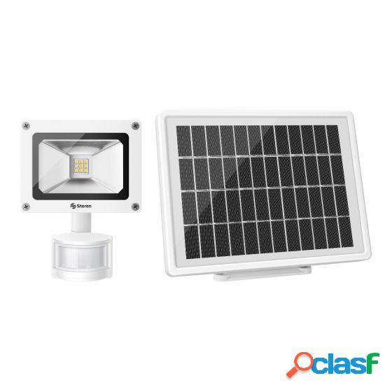 Steren sensor de movimiento con reflector led y panel solar lam-078, hasta 5 metros, blanco
