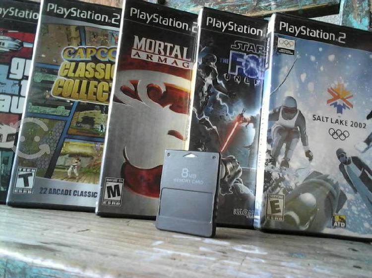 Ps2 video juegos 5 y una memory card 8mb