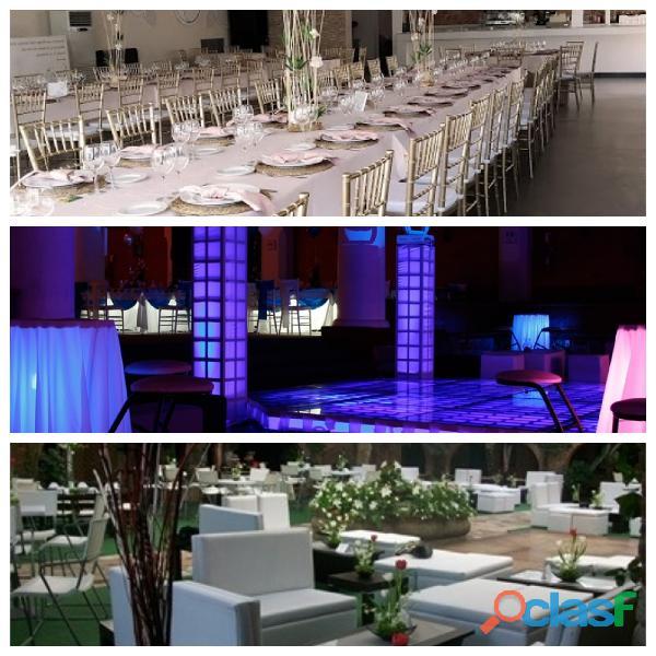 Terrazas, salones y jardines para eventos lounge.