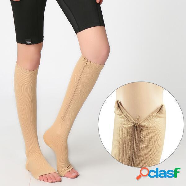 Mujer zip calcetines miracle calcetines stovepipe medias de compresión rodilla calcetines