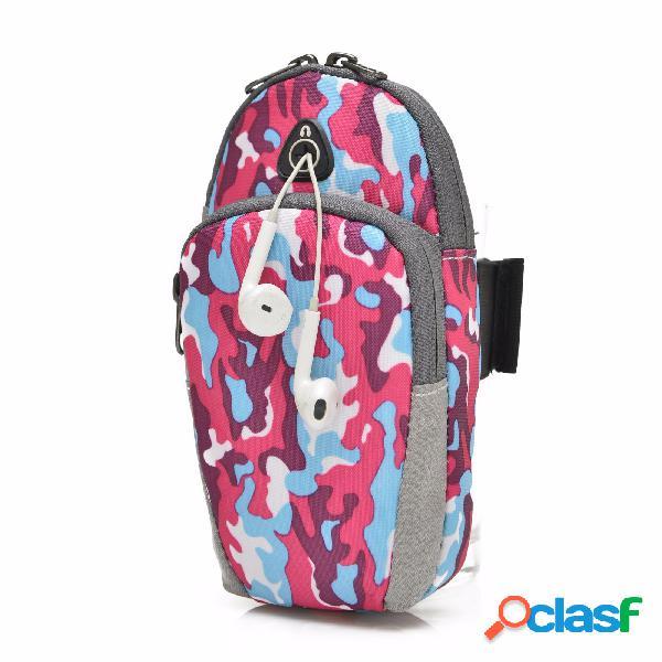 Caballero libre 5.5 pulgadas deportes bolsa de bolsa con bolsa de teléfono con soporte para auriculares para iphone 7 plus 6s más