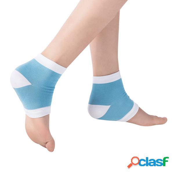 Mujer anti-cracking gel calcetines nylon medio calcetines silicona gel protector de pies calcetines