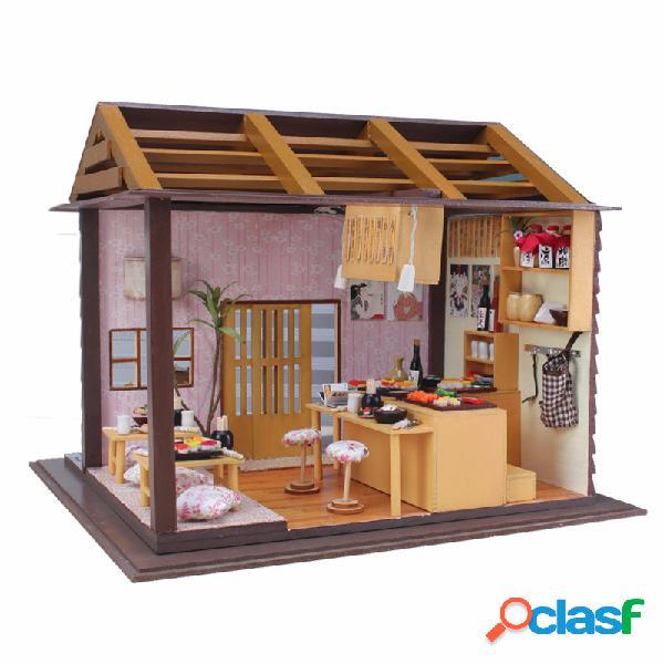 Miniatura hoomeda sushi bar diy casa de muñecas de madera con muebles led