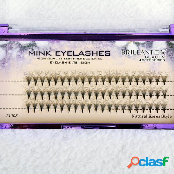 60 unids pestañas de visón alargamiento de pestañas pro falso pestañas eye makeup cosmético