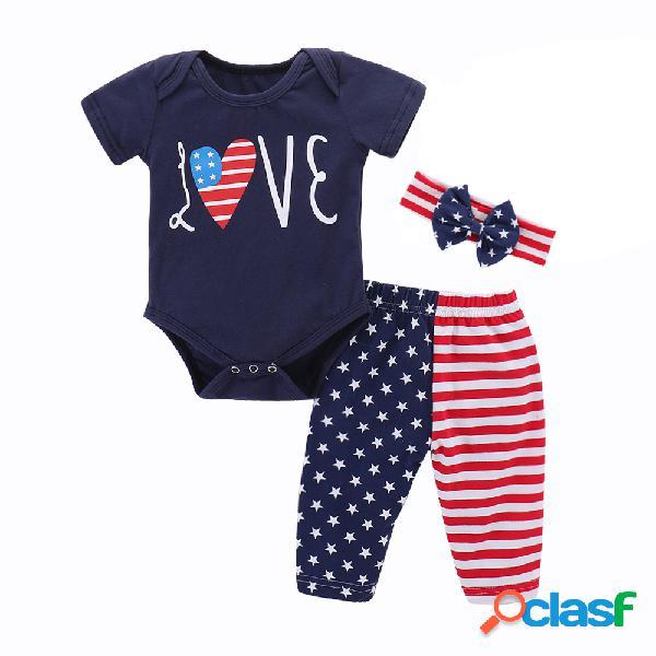 Trajes de bandera recién nacido niño pequeño bebé niña niño niño mameluco pantalones cortos traje de sol ropa