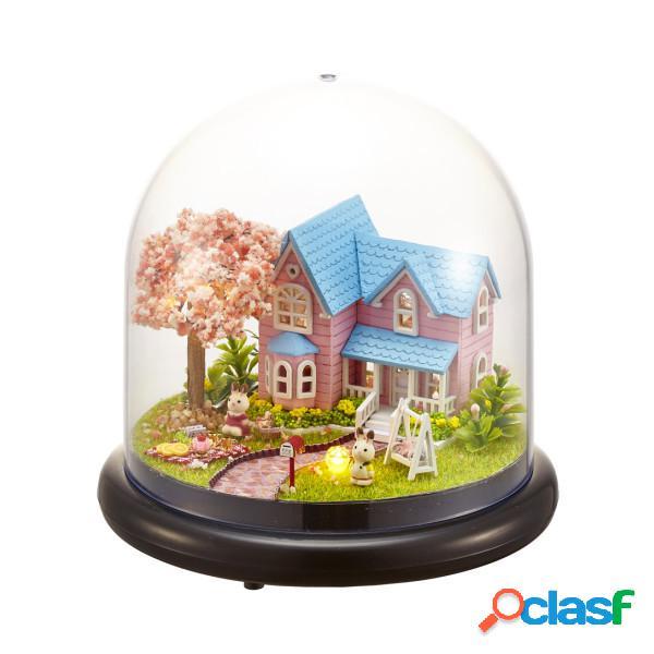 Miniatura cherry dollhouse diy kit con tapa y led
