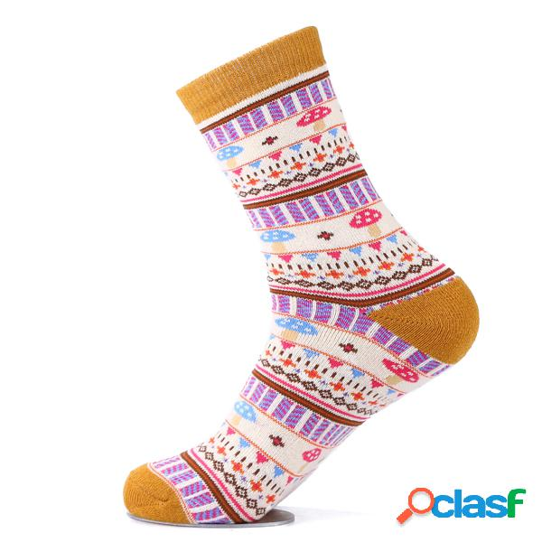 Mujer grueso cálido lindo mushroom cotton calcetines casual calcetines transpirable high elastic tube calcetines
