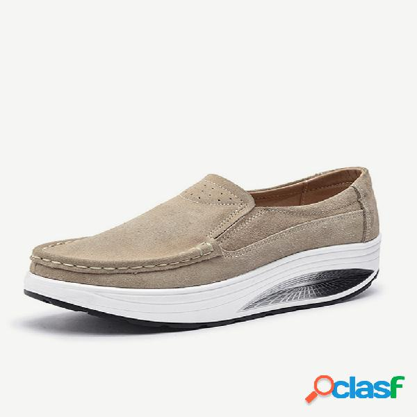 Zapatos casuales de suela de balancín de cuero de gran tamaño