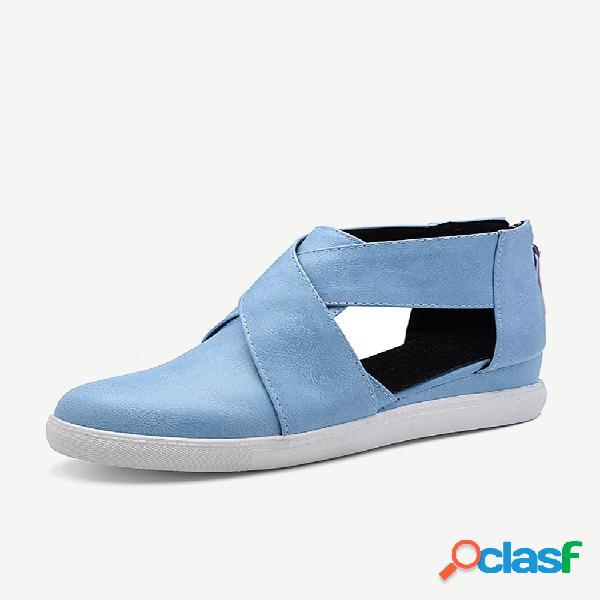 Zapatos planos con plataforma cross banda de color sólido
