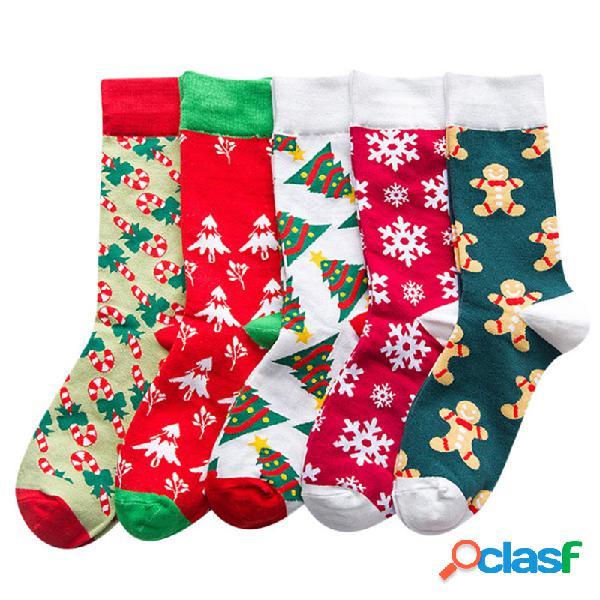 Mujer cartoon cotton mid-tube calcetines regalo de navidad calcetines soft cálido, transpirable y desodorante calcetines