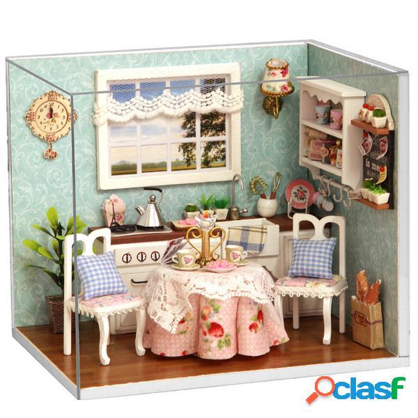 Cuteroom dollhouse miniatura comedor encantador kit de bricolaje con tapa y led