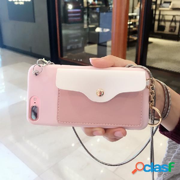 X phone shell diagonal cross coin purse iphone7 / 8 plus paquete de tarjeta xs max silicona 6s cubierta protectora