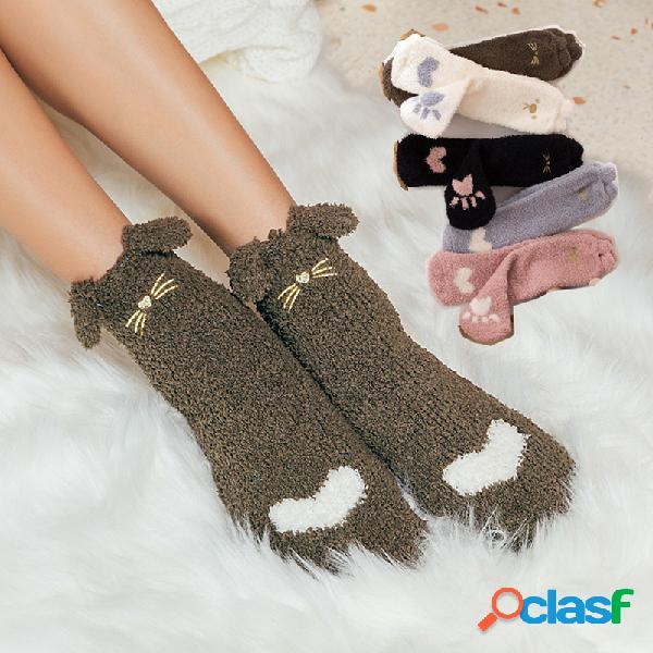 Mujer winter coral velvet calcetines cálido calcetines de engrosamiento de dibujos animados lindo moda casual tube medio calcetines