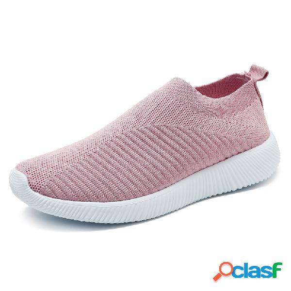 Tamaño grande mujer zapatillas deportivas para correr malla transpirable atlética soft zapatos vulcanizados calcetines