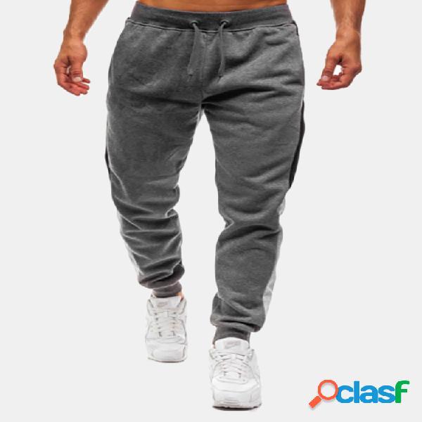 Sport hip-hop raya de costura transpirable con cordón casual delgado pantalones para hombres