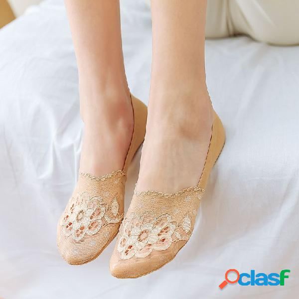 Mujer summer lace no show calcetines forro transpirable elástico de corte bajo y bajo calcetines