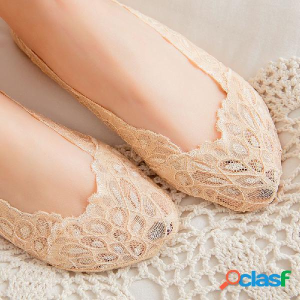 Mujer summer lace no show calcetines elástico, transpirable, antideslizante, poco profundo, de corte bajo calcetines