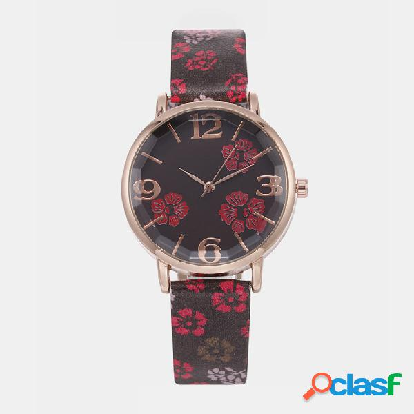 Funny sport mujer reloj de cuero banda oro rosa caso reloj de cuarzo con flores superligeras