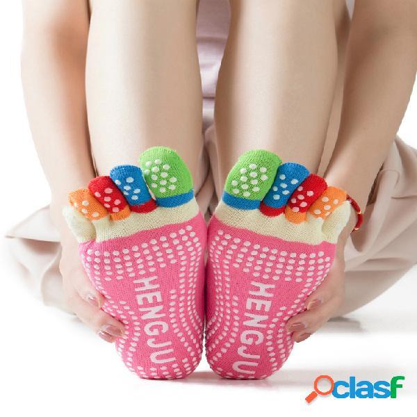 Mujer yoga calcetines puntera antideslizante, dispensadora, transpirable y cómoda calcetines