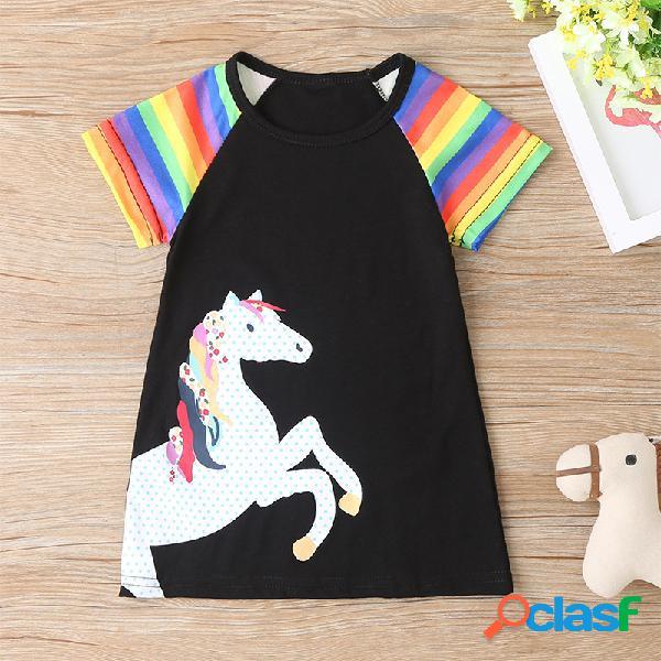 Mangas cortas de estampado de rayas de unicornio para niña casual vestido para 1-8y