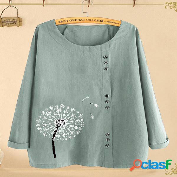 Blusa estampada de flores de manga larga con cuello en o para mujer