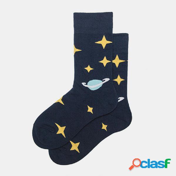 Calcetines medias masculinas tendencia femenina starry sky tubo algodón calcetines calle europa y américa