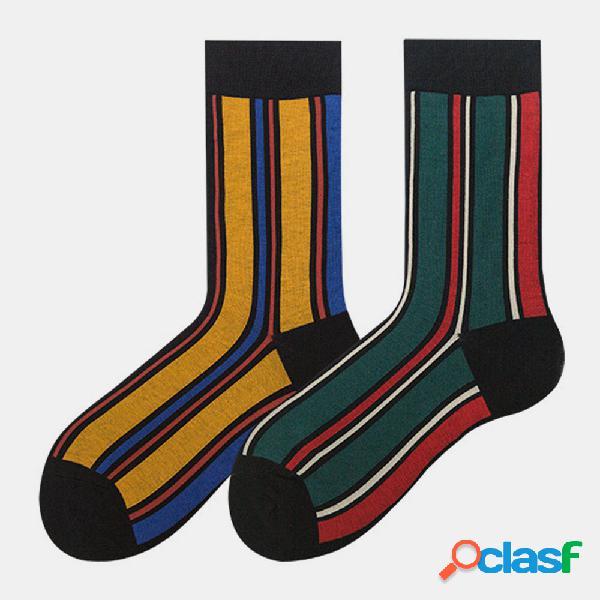 Tubo mediano calcetines rayas de marea masculinas golpean la calle retro europeo y americano calcetines mori mujer calcetines