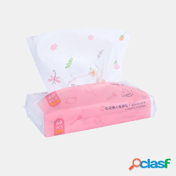 60 bombeo / paquete impreso desechable extracción de tela no tejida toallitas húmedas y secas toallas de cocina