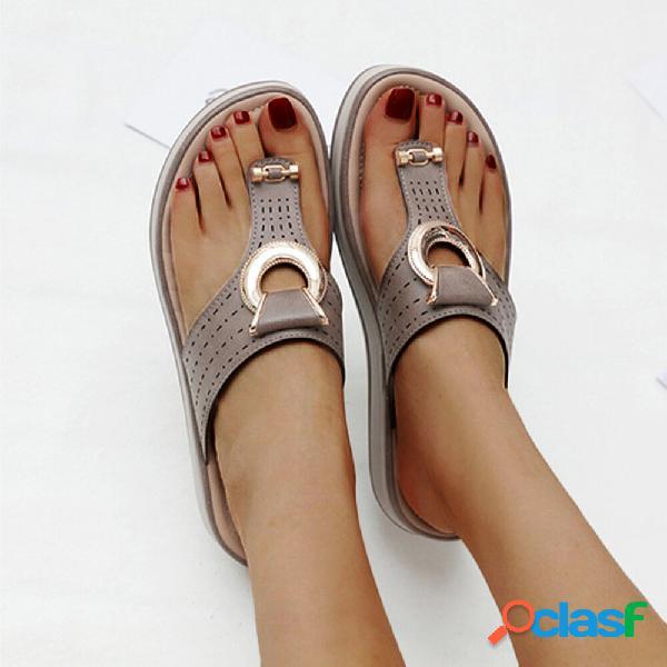 Mujer metal decor hollow comfy dedo del pie del clip playa casual zapatillas